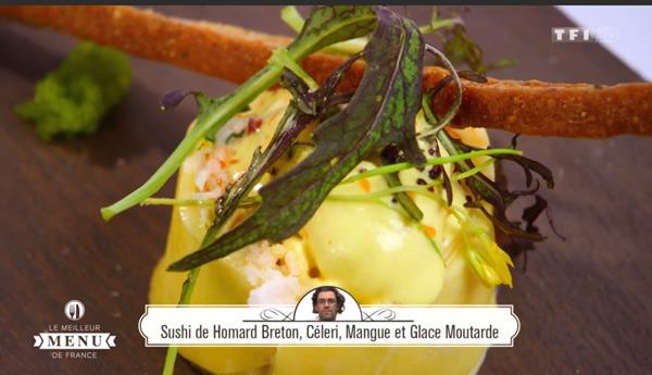 Recette de sushi de homard breton, céléri, mangue et glace moutarde
