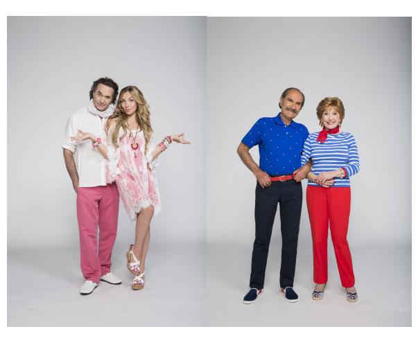 Les nouvelles photos promo de Scènes de ménage saison 7 avec Camille et Philippe / Huguette et Raymond // Crédit : Cecile ROGUE/M6