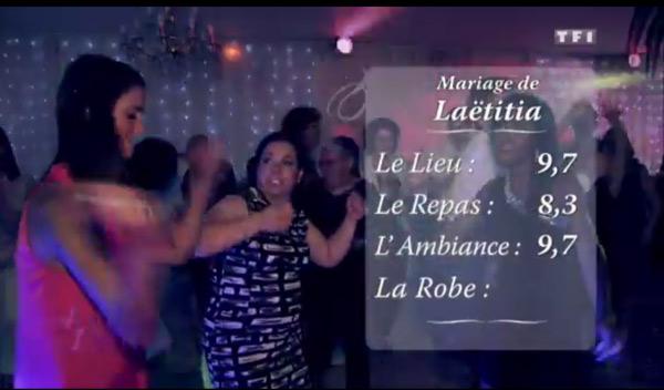 4 mariages le snotes de Laetitia La blonde : 9,7 pour le lieu 8,3 pour le repas et 9,7 pour l'ambiance