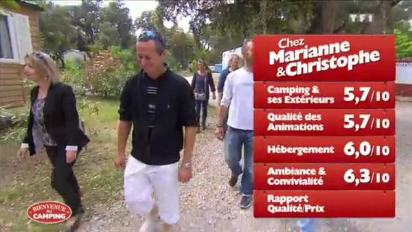 Les notes de Marianne et Christophe dans Bienvenue au camping sur TF1