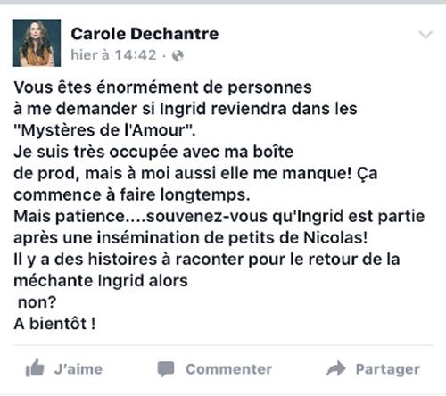 Message Facebook du retour d'Ingrid dans les mystères de l'amour saison 11