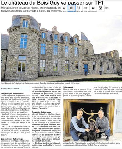 Article de presse dans Ouest France sur Michael et Mathias de Bienvenue à l'hôtel