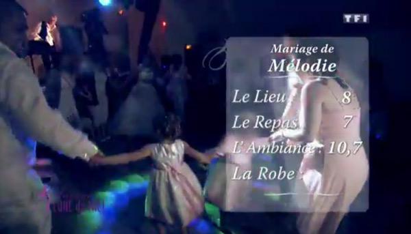 Les notes du mariage de Mélodie dans 4 mariages basses : 8 pour le le lieu, 7 le repas et 10,7 l'ambiance
