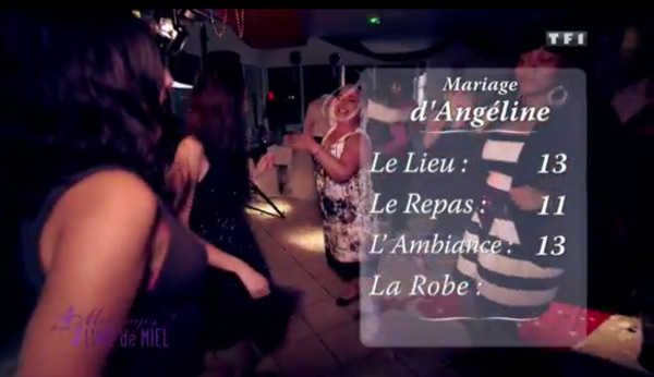 Les notes d'Angéline dans 4 mariages toutes au dessus de la moyenne !