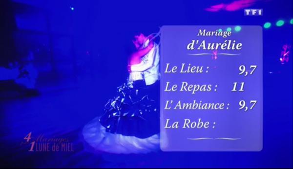 Les notes d'Aurélie dans 4 mariages pour 1 lune de miel : 9,7 pour le lieu, 11 pour le repas et 9,7 pour l'ambiance.