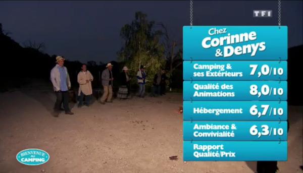 Les notes de Corinne et Denys dans Bienvenue au camping sur TF1