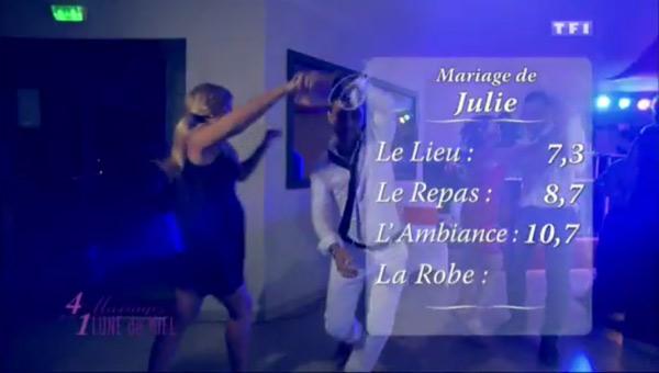 Les notes du mariages de Julie du 20 octobre 2015 dans 4 mariages de TF1