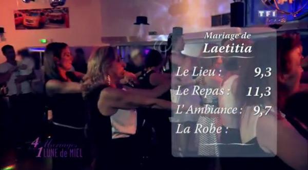 Les notes de Laetitia dans 4 mariages : 9,3 pour le lieu, 11,3 pour le repas et 9,7 pour l'ambiance