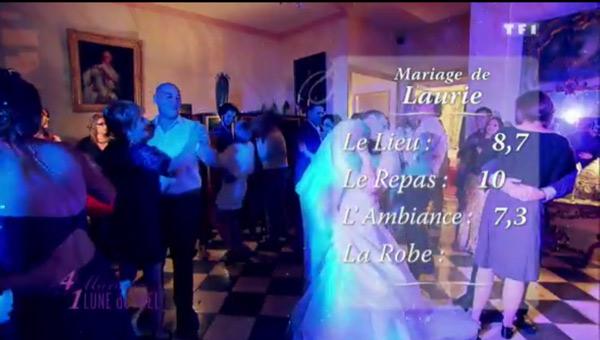 Les notes du mariage de Laurie : 8,7 pour le lieu / 10 pour le repas et 7,3 pour l'ambiance