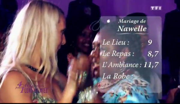 Les notes du mariage de Nawelle de 4 mariages : 9 pour le lieu, 8,7 pour le repas et 11,7 pour l'ambiance