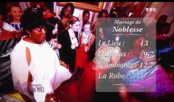 Les notes de Noblesse dans 4 mariages de TF1 : 13 pour le lieu, 9,7 pour le repas et 12,7 pour l'ambiance