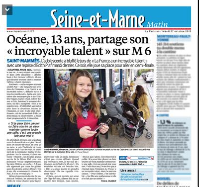 Oceane obtient un article dans Le Parisien Seine et Marne / Capture écran