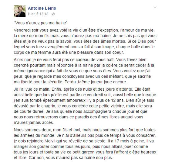 La lettre d'Antoine Leiris du Bataclan en hommage à Hélène morte dans les Attentats / Capture écran facebook