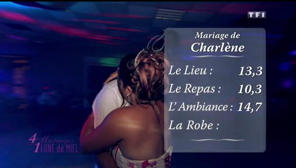 Les notes du mariage de Charlène de #4MP1LDM très très bonnes