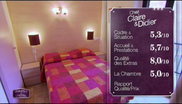 Les notes de Claire et Didier de Bienvenue à l'hôtel très sévères avec 5,3 pour la situation, 5,7 pour l'accueil, 8 pour les extras et 5 pour la chambre