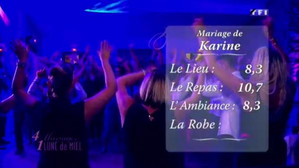 Les notes du mariage de Karine et Arnaud un peu basses notamment car Lorine a noté sous la moyenne