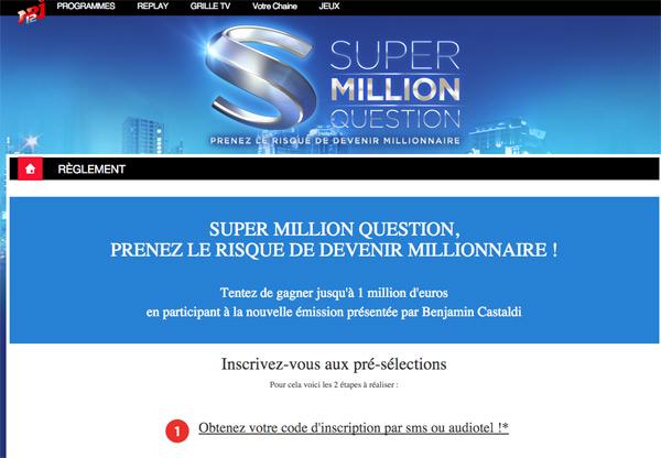 Jouer en ligne au jeu Super Million question de NRJ12 : les pré-sélections débutent