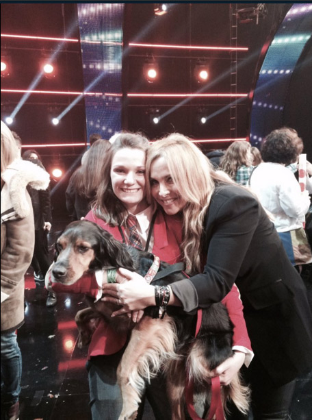 Juliette et Charlie gagnent La france a un incroyable talent 2015, photo avec Helene Segara