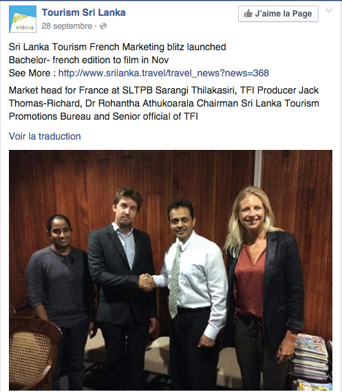 Le bachelor 2016 de NT1 au Sri Lanka ça se confirme