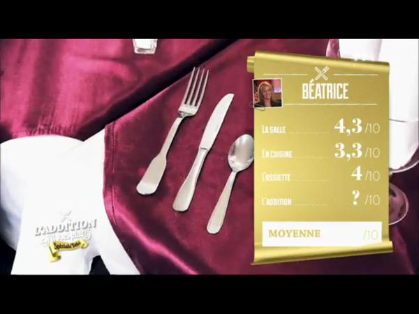 Les notes du resto dîner spectacles de Béatrice sur TF1