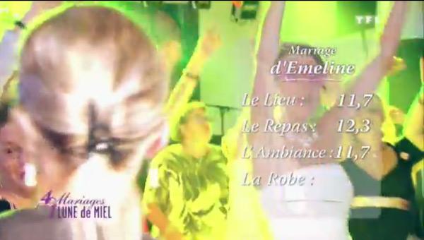 Les notes d'Emeline et Julien dans 4 mariages sur TF1