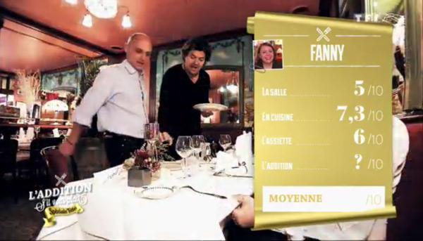 Les notes du restaurant de Fanny dans l'addition SVP : 7,3 la meilleure note pour la cuisine