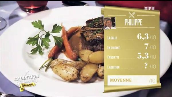 Les notes pour la péniche de Philippe sont plutôt bonnes sauf pour le repas