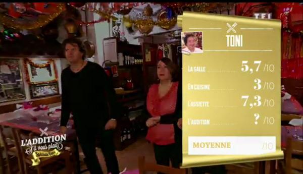 Les notes de Toni sanctionnées côté cuisine avec 3/10 de moyenne