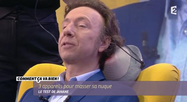 Avis Stéphane Bern en testeur de massage de nuque dans #CCVB avec Janine Boudali