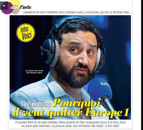 Cyril Hanouna quitte Europe 1 en 2016 ? vos réactions // Capture écran Voici le 08/01