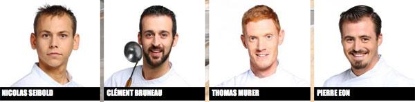 Nicolas, Clément, Pierre et Thomas dans Top Chef 7 le lundi / Capture écran M6