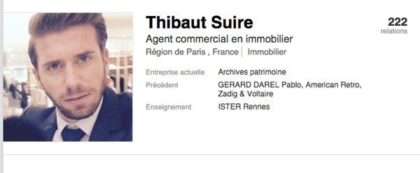Le profil Linkedin de Thibault Suire dans Chasseurs d'appart sur M6 / Capture écran