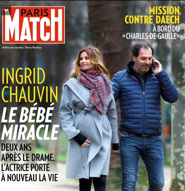 ingrid chauvin enceinte 42 ans dans paris match du 4 f vrier. Black Bedroom Furniture Sets. Home Design Ideas