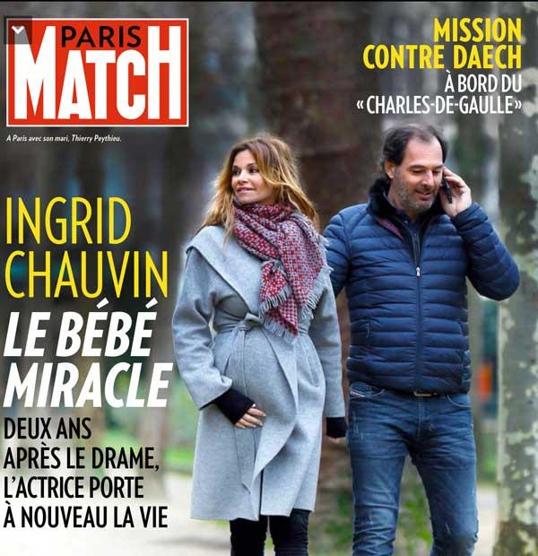 Le bonheur d'Ingrid Chauvin maman en 2016 / Paris Match