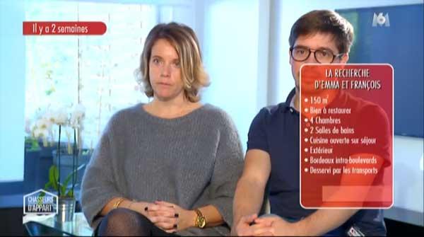 Emma et François dans Chasseurs d'appart le 23/02