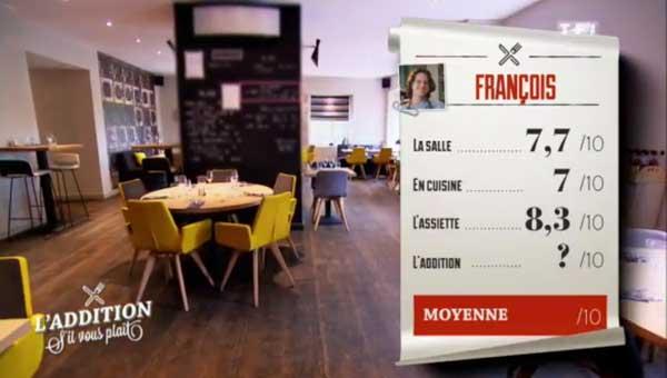 Les notes du resto de François sont très bonnes : le futur gagnant de TF1 ?