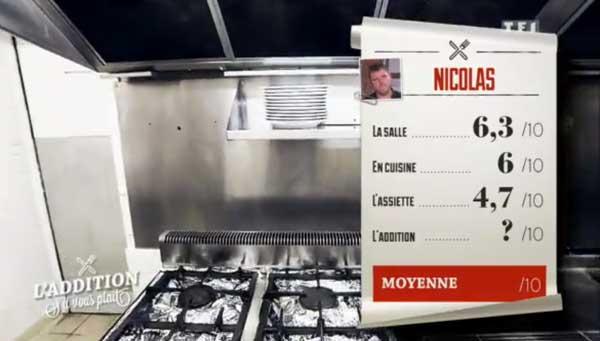 Les notes du resto de Nicolas sous la moyenne 4,7/10 pour l'assiette