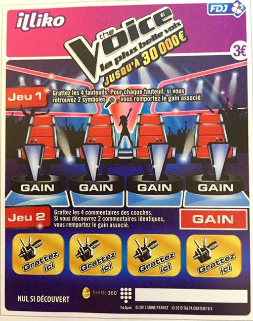 the voice le jeu gratter fdj illiko 3 euros d s le 1er f vrier. Black Bedroom Furniture Sets. Home Design Ideas