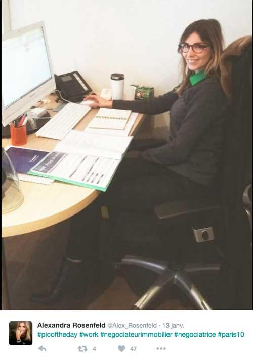 Alexandra Rosenfeld négociatrice de biens immobiliers , prochaine star de M6 ? / Capture écran twitter