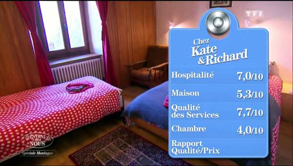 Les notes de la maison de Kate et Richard vue sur TF1