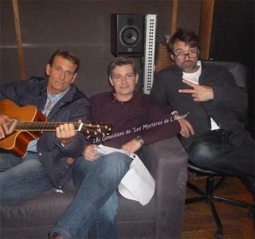 Nicolas, José et Jimmy ensemble en studios / Crédit photo : Facebook les comédiens