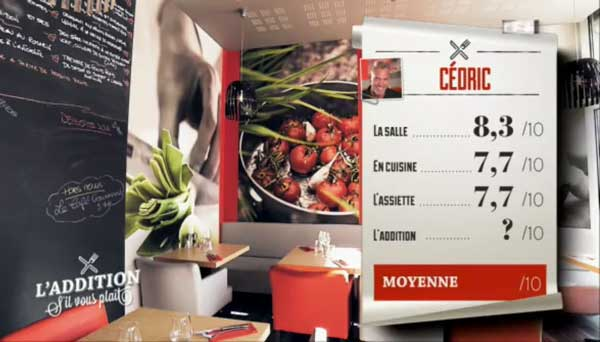 Les notes de la brasserie de Cédric dans l'addition SVP de TF1
