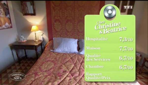 Les notes de la maison d'hôtes de Christine et Béatrice sur TF1