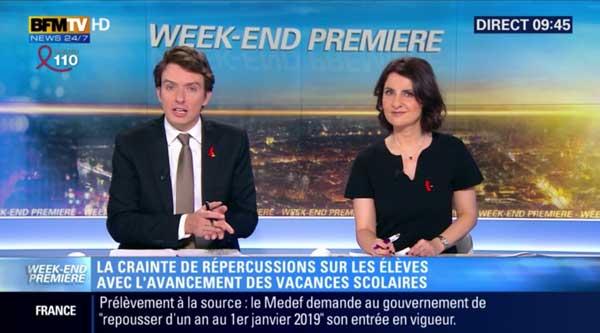 L'écran BFMTV avec l'annonce des titres + le bandeau d'info
