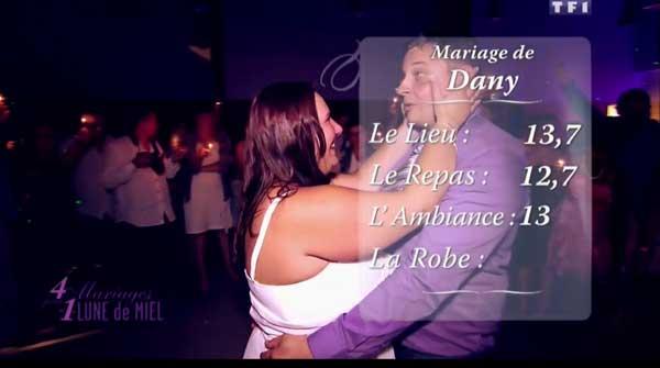 Les notes du mariage de Dany  = > qui est la gagnante de 4 mariages pour une lune de miel ?