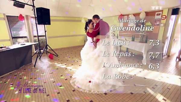 Les notes du mariage de Gwendoline  = > qui est la gagnante de 4 mariages pour une lune de miel ?
