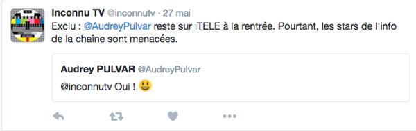 Audrey Pulvar sur itélé ça continue, espérons qu'On ne va pas se mentir va revenir !