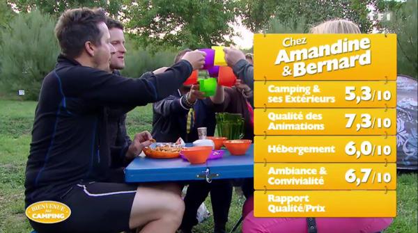 Les notes d'Amandine et Bernard avec leur camping sur TF1