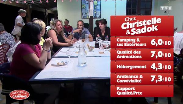 Les notes de Christelle et Sadok et leur camping vu sur TF1