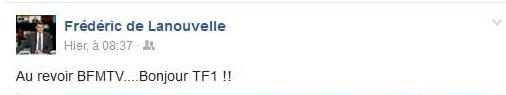 Le message facebook de Fred de la nouvelle supprimé pour parler de son départ de bfmtv !